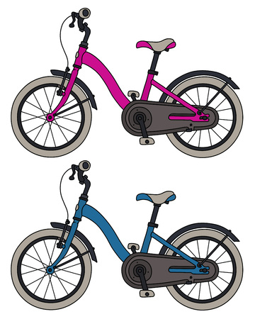 Pink and blue childrens bicycles Ilustracja