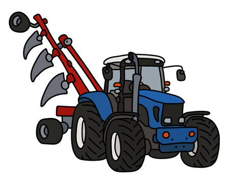The blue tractor with a plow