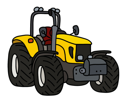The yellow open heavy tractor Illustration