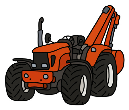 The orange small tractor with an excavator