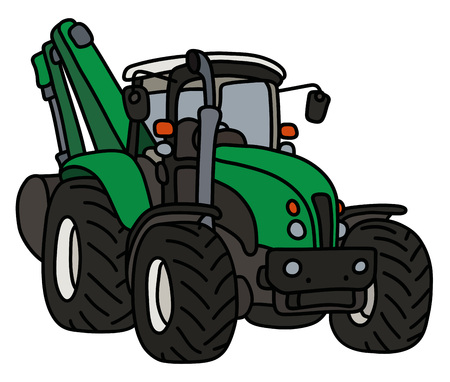 The green tractor with an excavator Illustration
