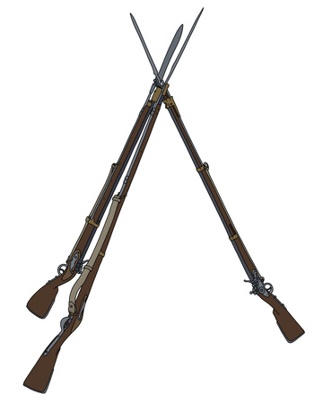 Vintage military rifles built in the pyramid