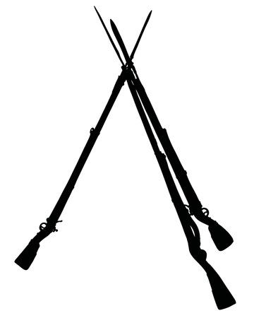 The black silhouette of three vintage military rifles