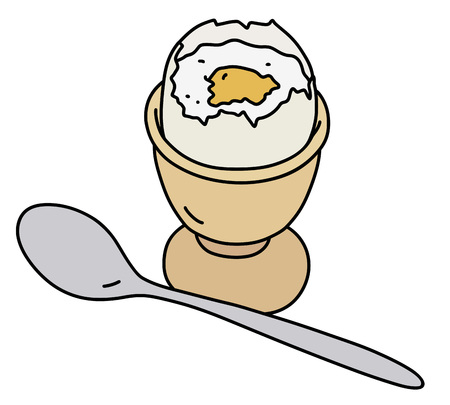 The hand drawing of a half boiled egg in the ceramic stand Illustration