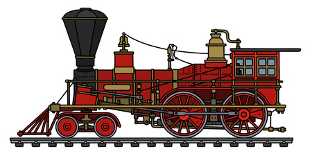 The hand drawing of a vintage red american wild west steam locomotive Vectores