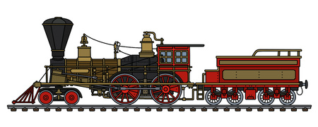 The hand drawing of a vintage red american wild west steam locomotive Ilustração