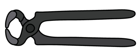 The black splitting pliers isolated on plain background. Illustration