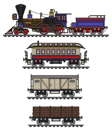 The vintage american wild west steam train Vector Illustration