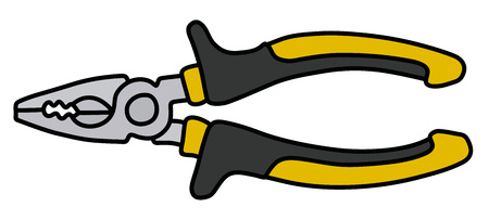 The combination pliers with black and yellow handle