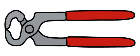 The splitting pliers with red plastic handles