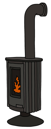 The modern design of a black stove Illustration