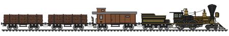 The vintage american steam train