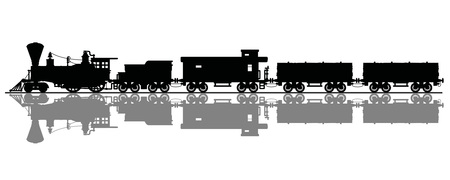 The silhouette of a vintage american steam train