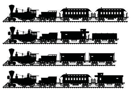Black silhouettes of vintage american steam trains