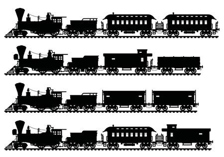 Czarne sylwetki starych amerykańskich pociągów parowych Ilustracje wektorowe