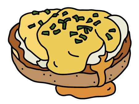 The hand drawing of a cooked eggs Benedict with a hollandaise sauce Vector illustration.