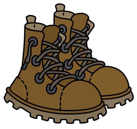 Leather lacing trek shoes Vector illustration.