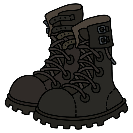 Black leather high lacing military shoes Vector illustration.