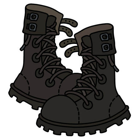 Black high lacing military shoes Vector illustration. Illustration