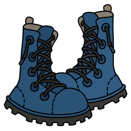 Blue leather high lacing shoes Vector illustration.