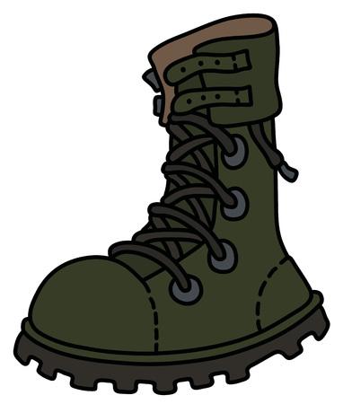 high lacing military shoe Vector illustration. Illustration