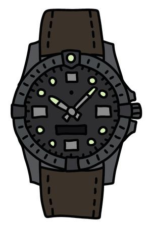 The sports waterproof wristwatch Vector illustration.