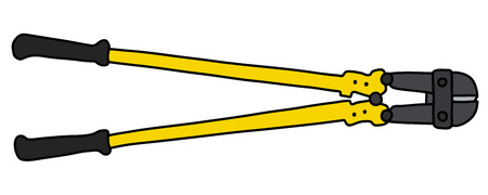The black and yellow big splitting pliers Vector illustration.