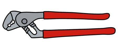 The wrench with red plastic handles Vector illustration.