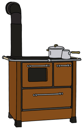 The old brown kitchen stove in white background. 矢量图像