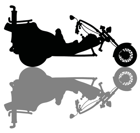 The black silhouette of a heavy motor tricycle Vectores