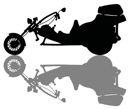 The black silhouette of a motor tricycle