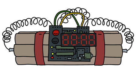 Diseño gráfico de la bomba de tiempo en la ilustración de la historieta. Ilustración de vector