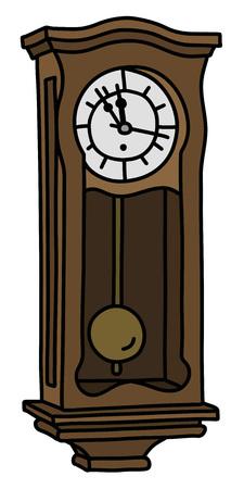 The vintage wooden pendulum clock vector illustration.