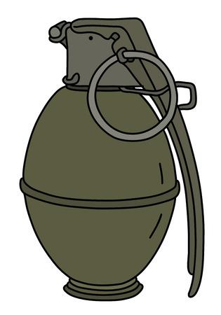 The old khaki attack hand grenade illustration.