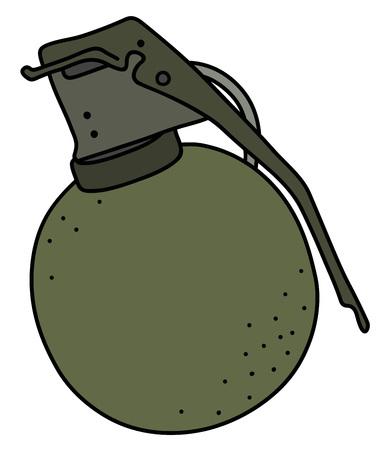 The old khaki offensive hand grenade illustration.