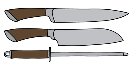 Two large kitchen knives with a sharpening steel illustration.
