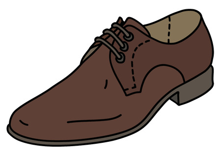 The brown leather mens shoe Stock Illustratie