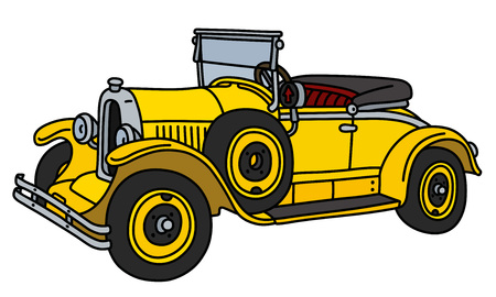 The vintage yellow small cabriolet