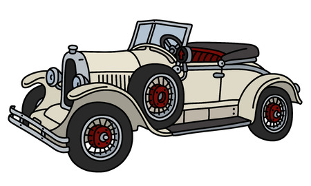 The vintage cream small cabriolet  イラスト・ベクター素材