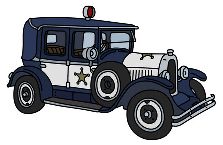 The vintage dark blue police car Stock Illustratie