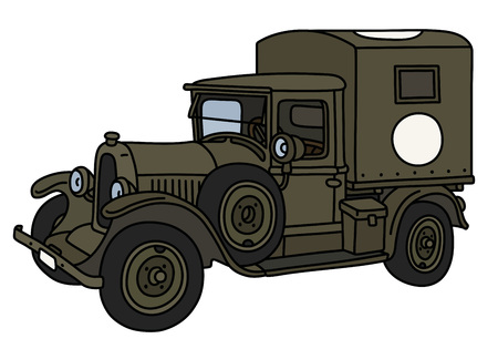The vintage military ambulance truck