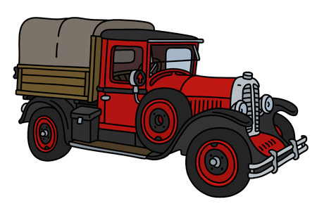 The vintage red truck Çizim