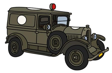 The vintage khaki military ambulance car