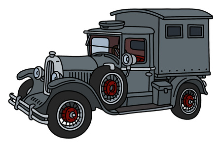 El camión con gabinete gris vintage
