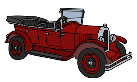 The vector illustration of a vintage red convertible isolated on a white background Vectores