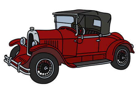 The vector illustration of a vintage red small cabriolet isolated on a white background