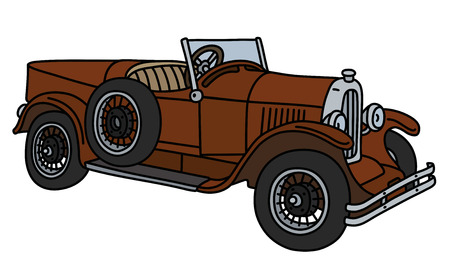 The vector illustration of a vintage brown sport car isolated on a white background Illustration