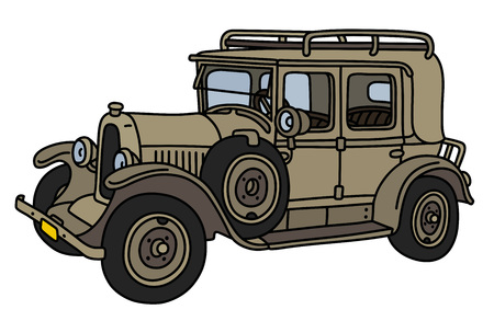 The vintage sand military car isolated on a white background