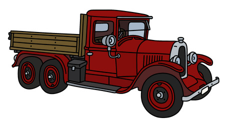 The vintage red truck isolated on a white background