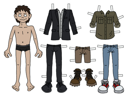 The paper doll funny boy with cutout clothes